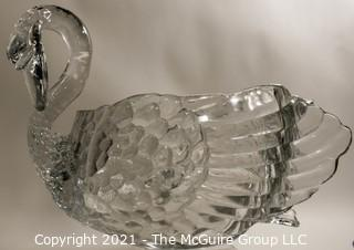 """Unmarked Clear Cambridge Glass Swan Punch Bowl with 12 Swan Cups & Ladle. It measures approximately 15 long, 10"""" tall and 10"""" wide.  Chip in back tail feather."""