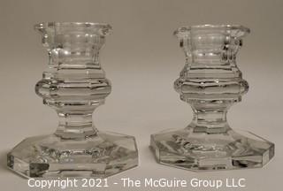 "Baccarrat Clear Crystal Candlesticks or Holders.  Each measures approximately 3 1/2"" tall and 3"" wide at the base."