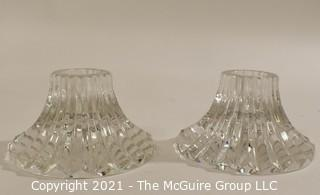 "Pair (2) Baccarat Cut Crystal Candle Sticks or Holders with Deep Bevel Cuts in Massena Pattern. They measure approximately 1 1/2"" tall & 3"" in diameter."