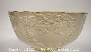 """Lenox Porcelain Holiday Hostess Collection Punch Bowl with Gold Trim.   Measures approximately 12 1/2"""" in diameter and 6"""" tall."""