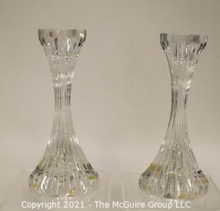 """Set of (2) Baccarat Cut Crystal Candle Sticks with Deep Bevel Cuts in Massena Pattern. They measure approximately 5"""" tall."""