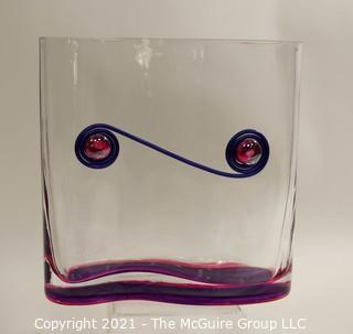 """Contemporary Modern Art Glass Vase with Applied Decoration.  It measures approximately 8"""" tsll & 8"""" wide."""