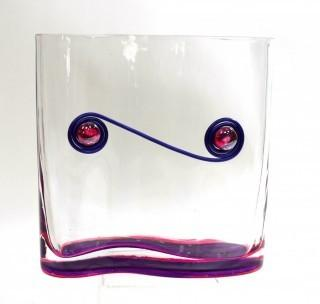 "Contemporary Modern Art Glass Vase with Applied Decoration.  It measures approximately 8"" tsll & 8"" wide."