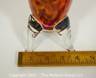 """Large Hand Blow Art Glass Vase on Footed Base.  Measures approximately 14"""" tall."""