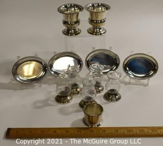 Group of Sterling Silver and Glass Small Serving Pieces.