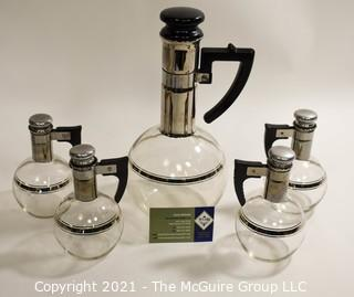 Mid Century Modern MCM Silver and Glass  Inland Coffee or Wine Carafes with 4 Individual Carafes set ,