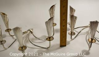"""Pair (2) Silver Plated Denmark Calla Lilly Candlesticks Candleabra with Five Lights Marked with EL Crown.  Measures approximately 10"""" wide and 7"""" tall."""
