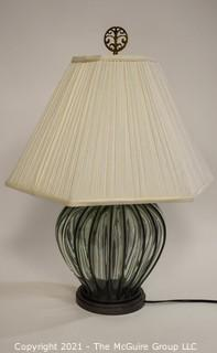 Clear Blow Glass with Iron Detail Table Lamp with Shade in Finials.