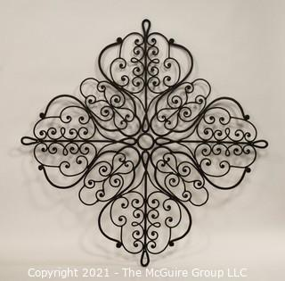 "Large Wrought Iron Scroll Work Wall Decoration.   Measures approximately 38"" in width."