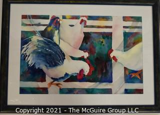 """Framed Under Glass Watercolor of Roosters Signed by Artist Jeannette Baker.  Measures approximately 28"""" x 21""""."""