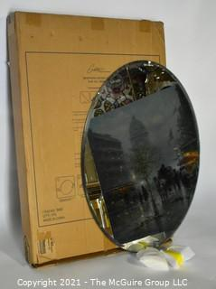 "Gatco Beveled Framed Oval Tilting Wall Mount Mirror, New in Box.  Measures approximately 19-1/2"" x 27-1/2"""