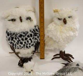 "Four (4) Decorative Owls with Feathers.  They're a ""Hoot"""
