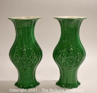 """Two Asian Stone Ware Pottery Green Glaze Vases with Risers (Not Shown).  They measure approximately 12"""" tall."""