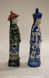 """Two (2) Porcelain Hand Painted Asian Warrior Statues with Incised Chopmark Stamp on Base.   They measure approximately 11"""" tall."""