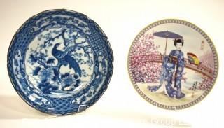Two (2) Asian Hand Painted Porcelain Plates, One with Chopmark on Back.