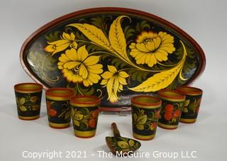 Russian Khokhloma Hand Painted Wooden Tray and Cups.