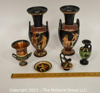 Group of Ceramic Hand Painted Grecian Urns and Decorative Items Including Dish by Kutamia Athens Greece .