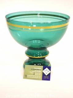 """Green Glass with Gilt Trim Pedestal Bowl.  Measures approximately 8"""" tall."""
