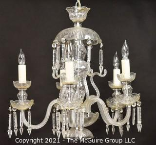 """Vintage Murano Glass Five (5) Arm Chandelier with Hanging Cut Crystals. Measures approximately 24"""" wide and 22"""" tall.  Some crystals missing"""