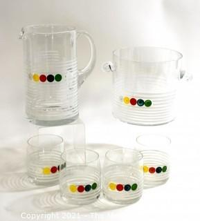Vintage Mid Century MCM Six (6) Piece Cocktail Set.  Includes Two (2) Pitchers and Four (4) Glasses.