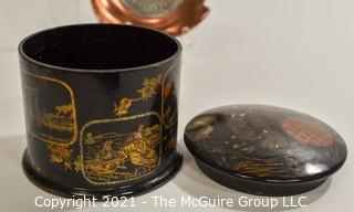 Eclectic Group Includes Red Celluloid Sewing Kit in a Fob; Copper Commemorative Fraternity Ash Tray, Vintage Asian Lacquer Box with Lid, Metropolitan Police Whistle,  Gillette Razor case holder, Candle snuffer, Victrola needles in tin case.