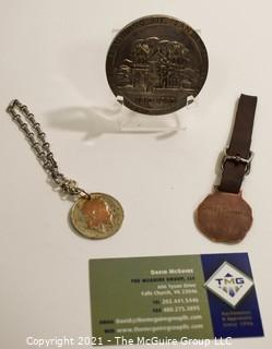 Nickel Plated Commemorative Medallion Celebrating the Founding of Santa Fe NM, 1910 – 1960. YMCA of Cambridge MA Medal for Chess Champion 1910 and 1901 Coin on Chain