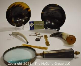 """Collection of """"Horn"""" Composition Items. Includes Homemade Power Horn from Shenandoah Valley Area Incised J7-92 (probably 1892), Eyeglass Spectacles with Spring Expander, Magnifying Glass Made in Germany by Fisher Scientific, Horn Bottle Opener with Sterling Silver Accents, Two Bowls and Spatulas"""