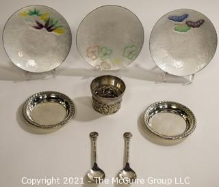 Pairpoint Condiment Coaster, Three (3) Asian Enamel Painted Bowls, Two (2) Sterling Silver Dishes and Two (2) 1964 Worlds Fair Spoons.
