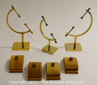 "Brass Display Stands With Set Screws and  ""Hang Ups"" Wall Attachments."