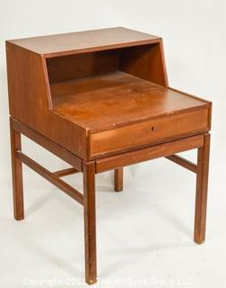 "Mid-Century Swedish Teak Casino Side Table with Drawer by Sven Engström & Gunnar Myrstrand for Tingströms.  Measures approximately 17"" x 20"" x 25""."