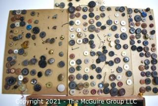 Vintage Collection of Buttons, Most Mounted on Card Board.