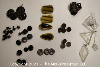Collection of Vintage Buttons Including Carved Jet Glass, Bakelite and Clear Lucite Deco Accents.