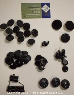 Collection of Antique Hand Carved or Cut Black Jet Glass Buttons and Embelishments.