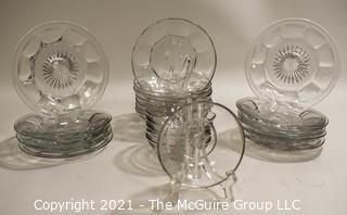 Set of Clear Heisy Colonial Glass Ware.  Includes Bread & Butter Plates and Bowls.