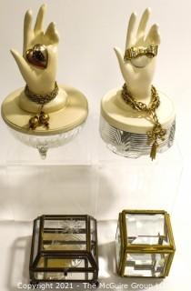 Two (2) Trinket Boxes with Hand Tops Decorated with Vintage Jewelry and Two (2) Glass Jewelry Casks.