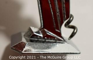 Group of Barware. Includes Horn Bottle Opener, Sterling Silver Duplicate Bridge Prize Bottle Opener, Two Chrome Jiggers, Two (2) Pocket Knives, Parrot Bottle Opener and Etched Dish.