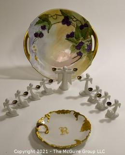 Group of Fine Porcelain Items.  Includes Set of White Porcelain Angle Candle Holders by Rosenthal and Two Hand Painted Bavaria Plates.