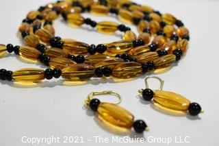 """Vintage 52"""" Double Wrap Czechoslovakian Glass Bead Necklace with Matching Dangle Earrings."""