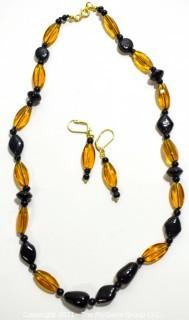 """Vintage 20"""" Czechoslovakian Glass Bead Necklace with Matching Dangle Earrings."""