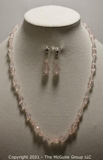 """Faceted Pink Quartz Bead Necklace and Matching Pierced Dangle Earrings with Sterling Silver Accents.  Necklace measures approximately 22"""" long."""