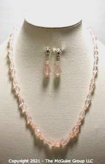 "Faceted Pink Quartz Bead Necklace and Matching Pierced Dangle Earrings with Sterling Silver Accents.  Necklace measures approximately 22"" long."