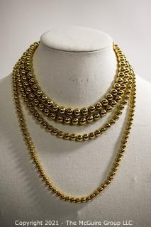 Three (3) Gold Tone Costume Jewelry Bead Necklaces.