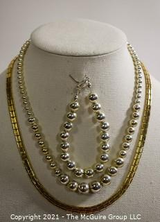 Silver Tone Costume Beaded Necklace & Bracelet and Gold Tone Chain Necklace.