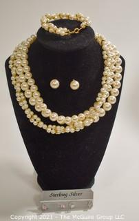 Group of Faux Pearl Jewelry Including Trifari.