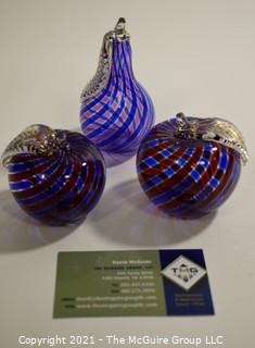 Three (3) Murano Hand Blown Glass Decorative Items.