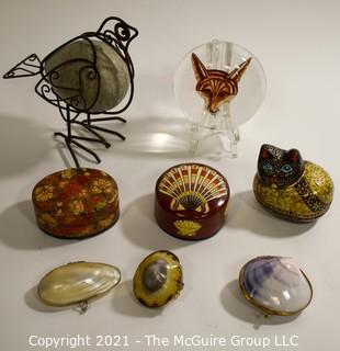 Group of Decorative Items.  Includes Three Shell Boxes New in Bags, Lacquer Boxes, Fox Paperweight, & Metal and Ceramic Bird.