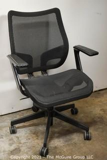 """Adjustable Height Office Arm Chair with mesh seat and back; on castors; 36 1/2""""T x 19"""" wide seat"""