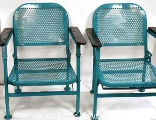Pair of Vintage Blue Mid-Century Folding Metal Iron Patio Chairs