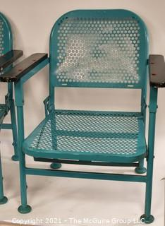 Pair of Vintage Blue Mid-Century Folding Metal Iron Patio Chairs
