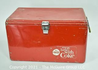 "Vintage Red Mid Century ""Things Go Better With Coke"" Coca-Cola Ice Chest; 13D x 22W x 12 1/2""T"